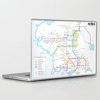 middle earth Laptop & iPad Skins featuring Middle Earth Transit Map by mehmetikberker