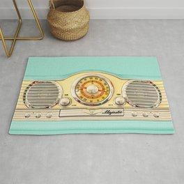 Blue teal Classic Old vintage Radio Rug