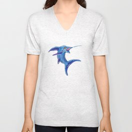 Abstract Marlin Unisex V-Neck