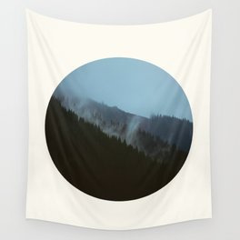 Mid Century Modern Round Circle Photo Graphic Design Slanted Pine Hill Silhouette Wall Tapestry