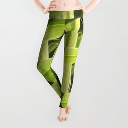 TEXTURES -- Palm Fronds Intersecting Leggings