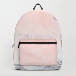 Blush Pink on White and Gray Marble III Backpack