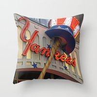 yankees Throw Pillows featuring New York Yankees Clubhouse by Joann Vitali