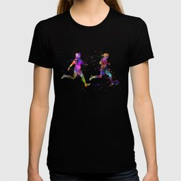 Girls playing soccer football player silhouette T-shirt