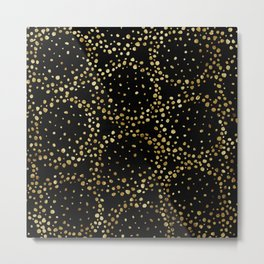 Gold Confetti Flakes Black Hole Shapes in Night Sky Metal Print