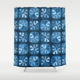 blue boomerangs Shower Curtain