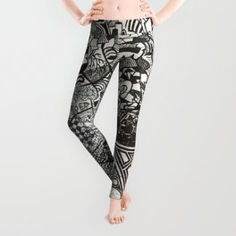 Red, Black, White, And Deja Leggings