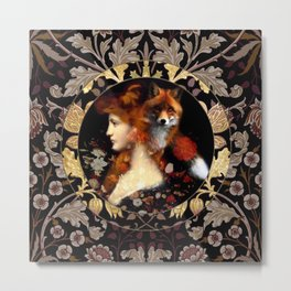 Red Haired Beauty Fox Cameo Metal Print
