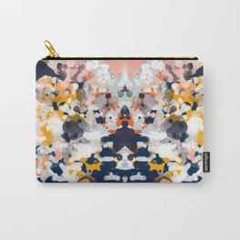 Stella - Abstract painting in modern fresh colors navy, orange, pink, cream, white, and gold Carry-All Pouch