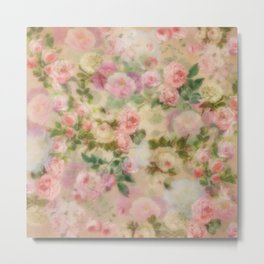 Roses In Pink And White Vintage Garden Flowers Metal Print