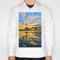 calendars Hoodies featuring Sunset ~ Huntington Beach Pier CA  11/7/13 by John Minar Fine Art Photography