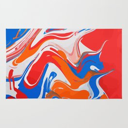 Liquid abstract marbled paint Rug