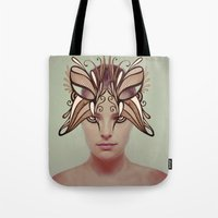 mask Tote Bags featuring Mask by Adelle Rae