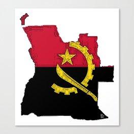 Angola Map with Angolan Flag Canvas Print