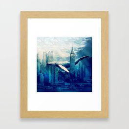 Blue Whale in NYC Framed Art Print