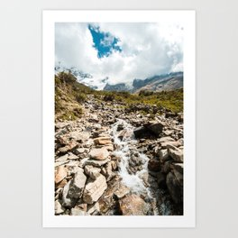 Running Water | Nature Landscape Photography of River Waterfall Over Rocks in Peru Art Print