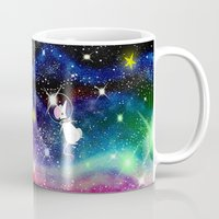 space cat Mugs featuring Space Cat by Andrew Hitchen