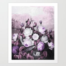 Pink Lavender Roses Gray Birds Temple of Flora Art Print