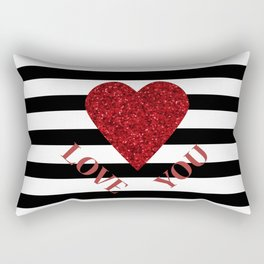 LOVE YOU Valentine print. Red glitter heart and black stripes congratulation card Rectangular Pillow