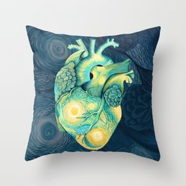 Anatomical Human Heart - Starry Night Inspired Throw Pillow