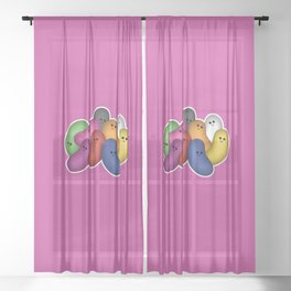 Happy Jelly Beans! (Purple) Sheer Curtain