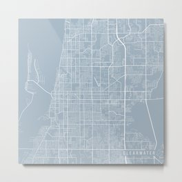 Clearwater Map, USA - Slate Metal Print