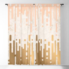 Marble and Geometric Diamond Drips, in Gold and Peach Blackout Curtain