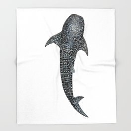 Whale shark Rhincodon typus for divers, shark lovers and fishermen Throw Blanket
