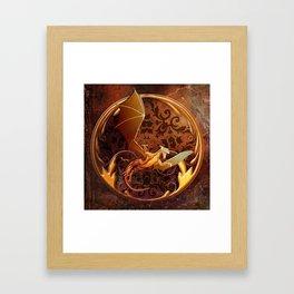 Gold Dragon Emblem on Faux Leather Framed Art Print