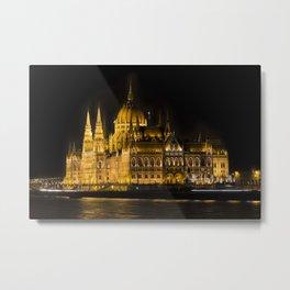 Budapest Parliament At Night Metal Print