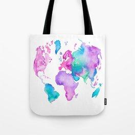 Modern world map globe bright watercolor paint Tote Bag