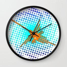 Distressed Nazca Lines Hummingbird On Gradient Blue Galaxy Wall Clock