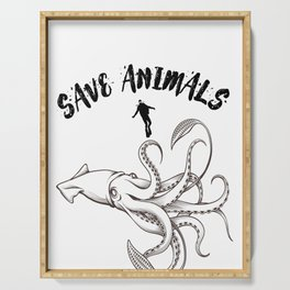 Giant squid save animals Serving Tray