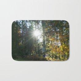 Sundown in a French forest in fall Bath Mat