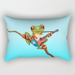 Tree Frog Playing Acoustic Guitar with Flag of Texas Rectangular Pillow