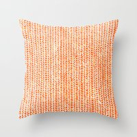 fabric Throw Pillows featuring Stockinette Orange by Elisa Sandoval