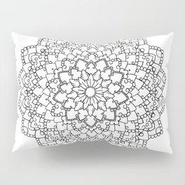 White Lace Mandala Pillow Sham