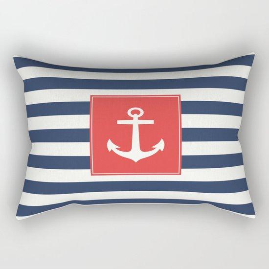 Anchor on blue and white stripes Rectangular Pillow