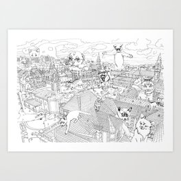Giant cats and dogs take over the city Art Print