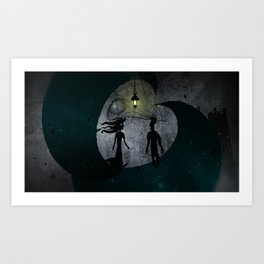 The Man and The Girl on Moons Art Print