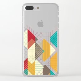 Geometric Geek Pattern - Squares, Stripes, Grids Clear iPhone Case