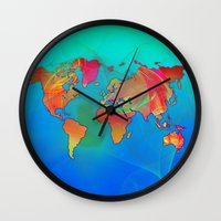 map of the world Wall Clocks featuring World Map by Roger Wedegis