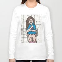 bathroom Long Sleeve T-shirts featuring Nicki's bathroom experience V2 by plmahl