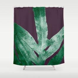 Green Fall Fern Purple Shower Curtain