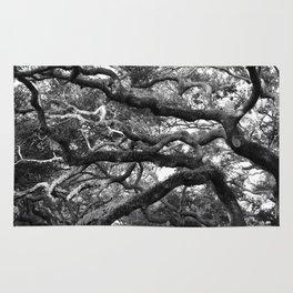 Live Oak Tree - black and white Rug