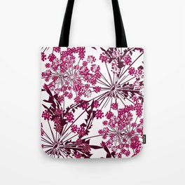 Laced crimson flowers on a white background. Tote Bag