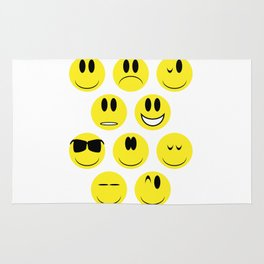 Yellow Face Emotions Rug