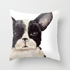 Frenchie closeup  Throw Pillow