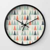 triangles Wall Clocks featuring Triangles by Dizzy Moments