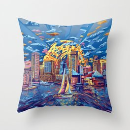 abstract city skyline-baltimore Throw Pillow
